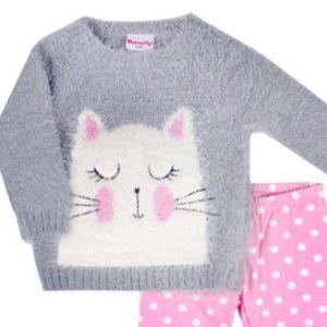 Nannette Matching Sets - Nannette Kitty Cat Sweater & Polka Dot Leggings